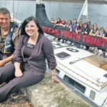 In 2011: Town centre manager Aileen MacLennan welcomed tall ships to Campbeltown.