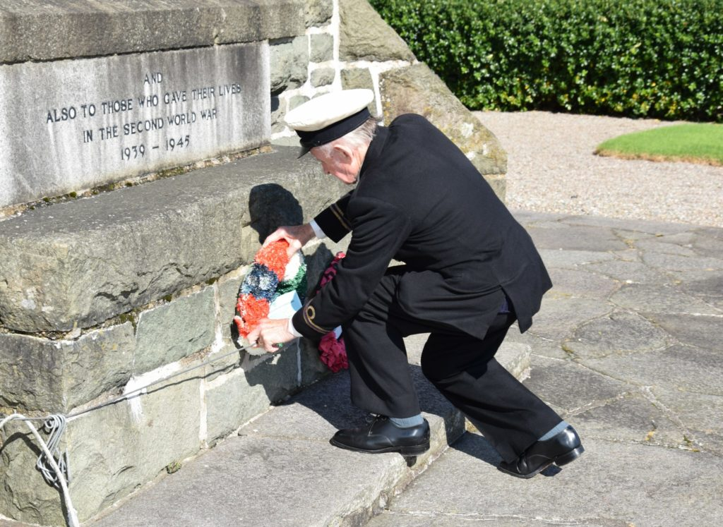 John Manning placing a wreath on last year's Merchant Navy Day.