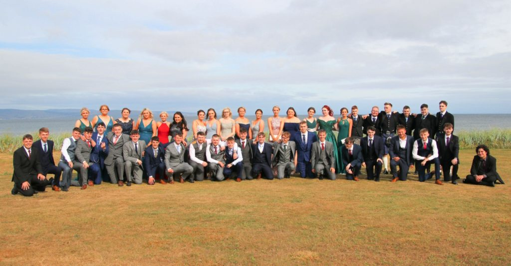 Campbeltown Grammar School's class of 2020 celebrating in their formal finery.
