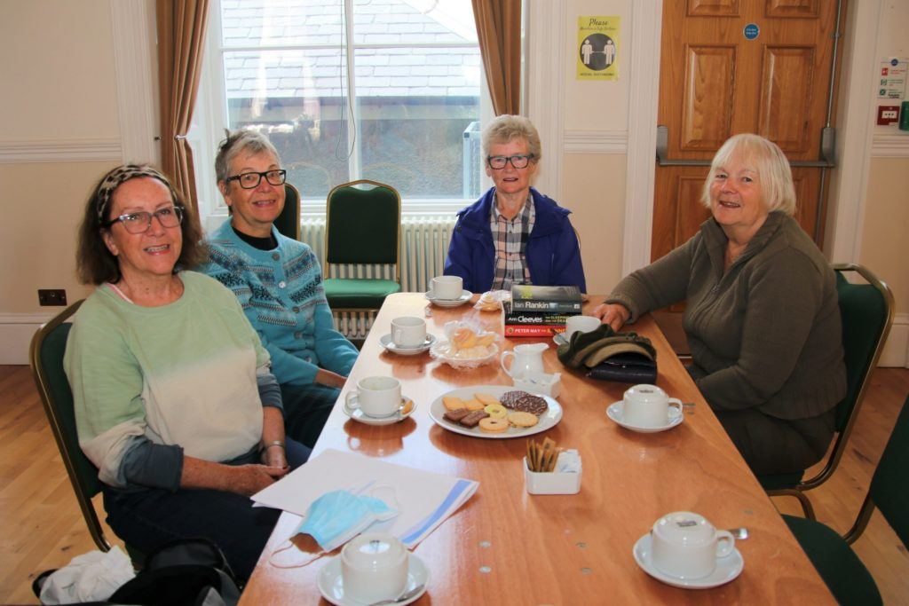 Organisers were pleased to welcome coffee morning regulars Betty McIntyre, Margaret Mathieson, Janice Anderson and Moira McDougal back at the town hall.