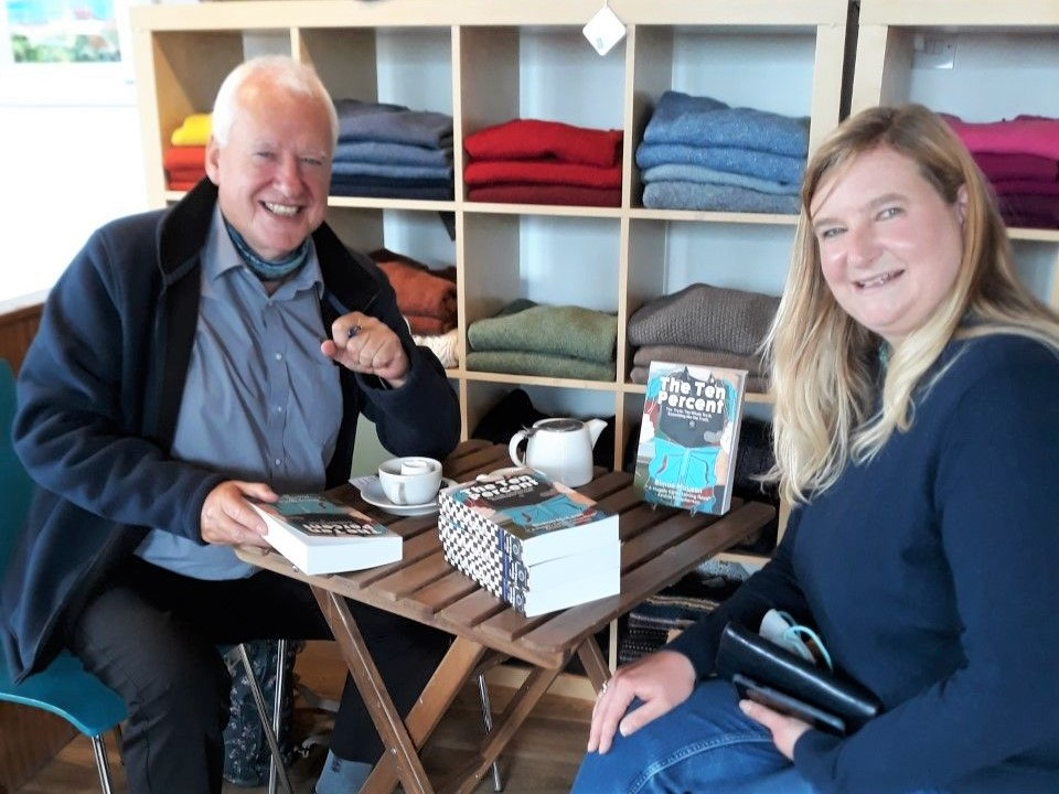 Former Campbeltown detective turned author Simon McLean with Argyll and Bute MSP Jenni Minto.