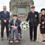 From left: Gordon Abernethy, Bob Miller, John Manning and Diana Manning at Campbeltown War Memorial on Merchant Navy Day.