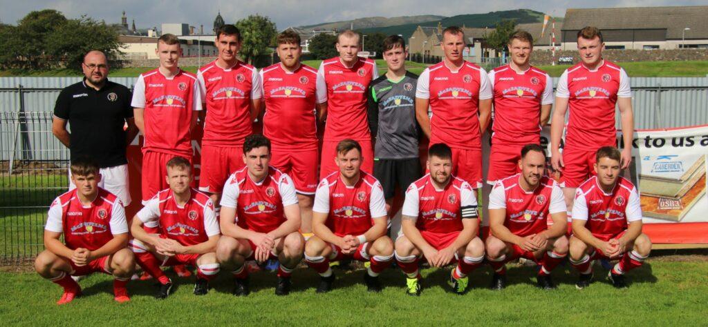 The winning Campbeltown Pupils side with Ewan McIlroy, back left, from match sponsor AM Transport.