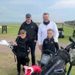 Family Greensome winners Craig and George MacMillan, left, with Blaze and Lee Mathieson who finished in 7th place.