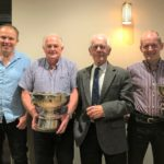From left: large herds winner Alastair Graham, West Backs; production class winner Sandy Pirie, Machrihanish; judge Jimmy Barr; and small herds, individual and overall winner Tommy Ralston, Dhurrie.