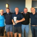 From left: Machrihanish Golf Club captain Kevan Gilchrist with winners Iain Macalister, Duncan Johnstone and Iain Johnstone, and Darren Kelly of McFadyens Contractors.
