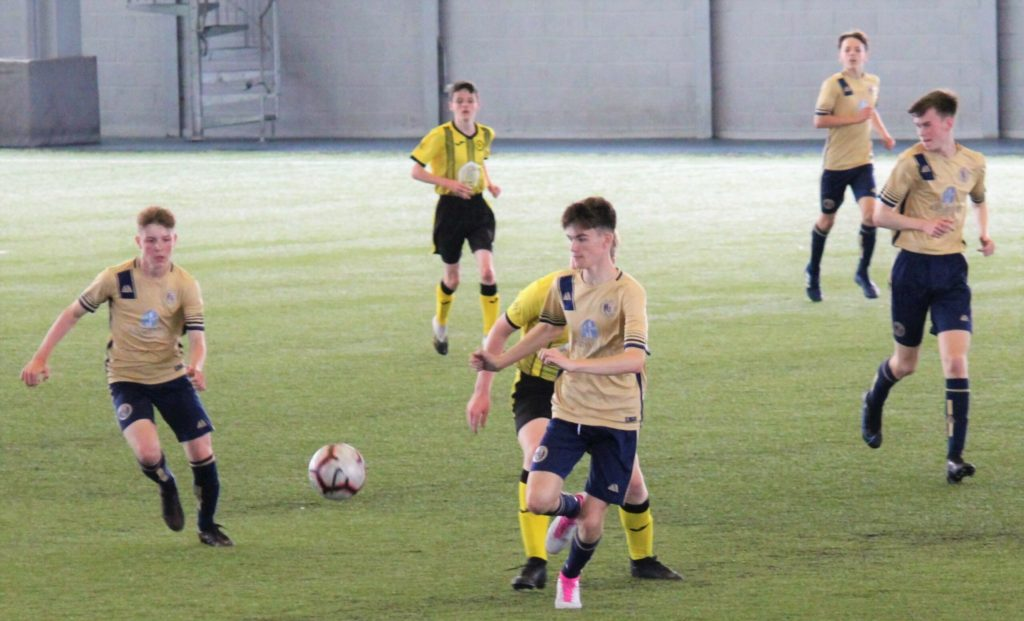 Photographed in possession is Ryan Shields of Campbeltown Pupils 2005s who had an excellent game in the centre of midfield and defence on Sunday.