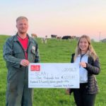 Campbeltown Young Farmers chairman Jamie McLean and committee member Jenny Semple with the club's cheque for SCAA.