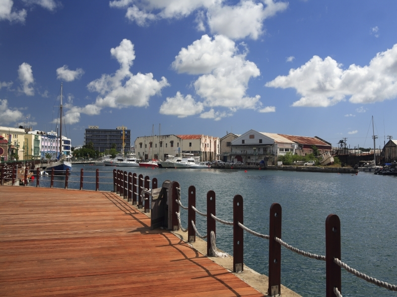 View on The wharf and marina of Bridgetown in Barbados