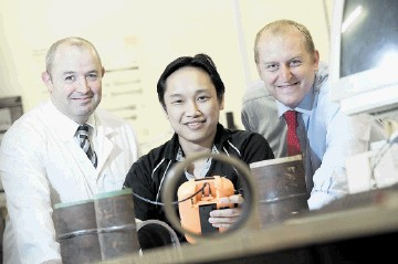 BACKING TALENT: Aberdeen University student Ryan Maurice (centre) with Dr Neill Renton (left) of Aberdeen University and Tony Holliday, chief executive of CorDEX Instruments