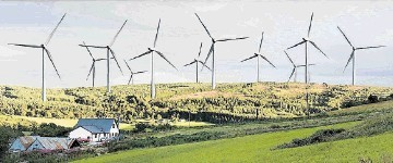 A RIDGE TOO FAR: This was the nightmare scenario envisaged by campaigners in an artist's impression showing how wind turbines up to 490ft high near Kiltarlity might look.  Highland councillors have rejected the plan