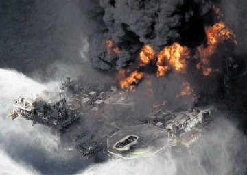 DRILLING DISASTER: The Deepwater Horizon rig ablaze following the April 2010 explosion
