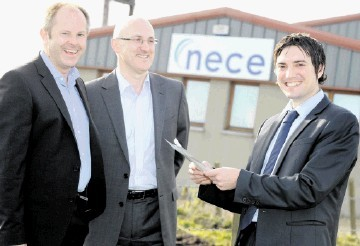 GROWTH STRATEGY: From left, Willie Rennie, Andy Bruce and Andy James, at Nece's HQ.