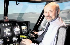 Mike Imlach in one of the flight simulators in Aberdeen