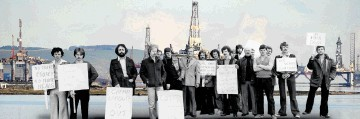 WAY BACK THEN:  Striking offshore  workers in  1979. Such scenes could be repeated as unions get set for a new battle