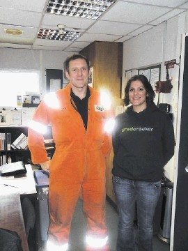 Ed Smith, Forties Delta offshore installation manager, with Annie from Gradcracke