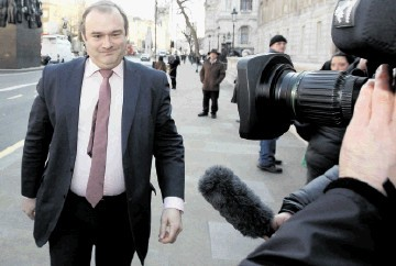 NEW MAN: Ed Davey arrives at the Cabinet Office  after Downing Street announced his appointment
