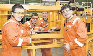 TRAINED UP: The first apprentices to undergo Proserv's customised subsea-equipment service technician course, from left, Jack Presly, of Banchory: Keiran Macleod, of Stonehaven; Jordan Mitchell, of Balmedie and Andrew Silver, of Cammachmore