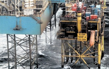 Gas is seen leaking from the Elgin platform