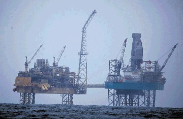 TONNES OF TROUBLE: Gas is leaking from Total's abandoned Elgin platform, 150 miles off Aberdeen, at the rate of around seven tonnes an hour