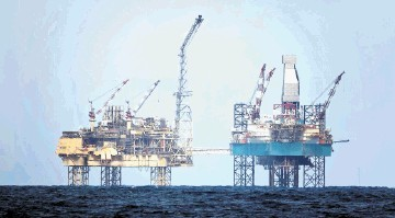 STILL DANGEROUS:   Methane gas has been leaking from the  Elgin Wellhead Platform for 10 days