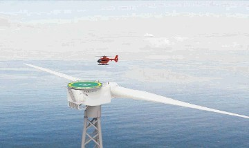 OFFSHORE TESTS PLANNED: An artist impression of 2-B's twin-blade turbine design