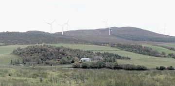 VISION OF FUTURE: An artist's impression of  the skyline  near Daviot if the West Coast Energy windfarm is approved