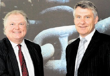 SHINING EXAMPLE: Lord Jones, left, and Bill Bayliss at Viking's new headquarters.  Jim Irvine