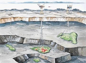 Norwegian North Sea Greig and Draupne joint fields development schematic