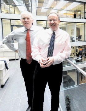 TOP TEAM:  Sir Ian Wood, left,  and Allister Langlands at the Wood Group's head office in Aberdeen for yesterday's annual meeting.  Jim Irvine