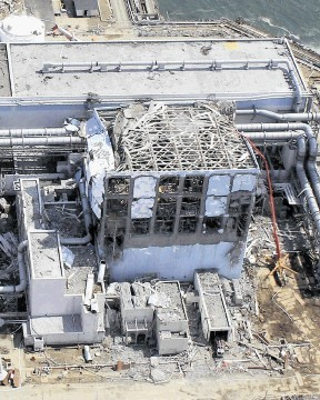 Damaged Unit 4 of the crippled Fukushima Dai-ichi nuclear power plant