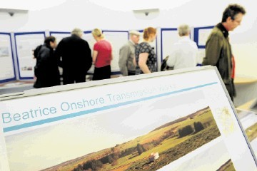 SHOWCASE: The public make their way around the Beatrice Offshore Windfarm exhibition at Keith.          Kami Thomson