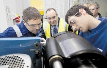 SECTOR BOOST: First Minister Alex Salmond on a visit to Hydrasun in Aberdeen yesterday where he launched the strategy