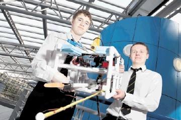 INGENUITY: Bucksburn Academy pupils David Adams, left, and Ross McDonald with their ROV