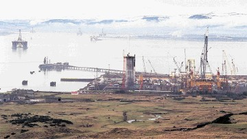 ANTICIPATION: The former Barmac plaform rig construction yard at Nigg, pictured in the late 1990s, is set for a new era with its new owner the  Global Energy Group