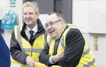 VISIONARIES: First Minister Alex Salmond, right, with Bob Drummond, CEO of Hydrasun, during a visit to the company in Aberdeen where the strategy was rolled out