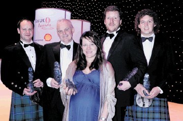 FLASHBACK: 2011 Oil and Gas UK Awards winners, Ann Davies, of BP, centre, with, from left, Wayne Henderson, RGB, Paul Martin, Petrofac, Alex Spence, Cape, and John Piper, BP