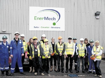 Mechanical engineering students at EnerMech in Aberdeen