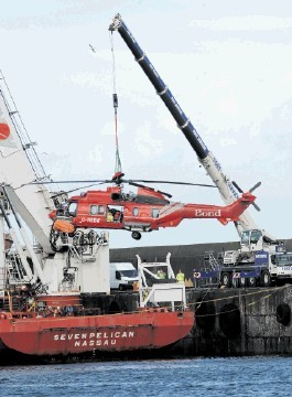 FLASHBACK: The ditched Super Puma being lifted ashore at Peterhead on May 11