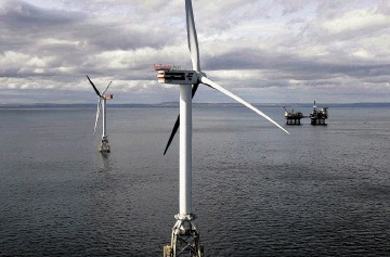 TEST PROJECT: The two-turbine Beatrice demonstrator  leads the way to   SSE   plans for a £3billion windfarm in the Moray Firth