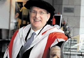 DELIGHTED:  Malcolm Webb, who was handed a doctorate. Jim Irvine