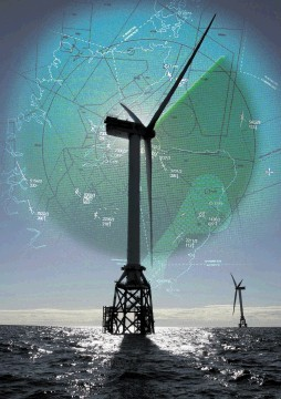 CONFLICT: A radar impression faded on   to a photograph of the two test turbines at the Beatrice windfarm