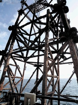 The North Sea Frigg platform being decommissioned.