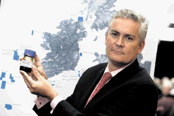 Providence Resources CEO Tony O'Reilly with a sample of Barryroe field crude
