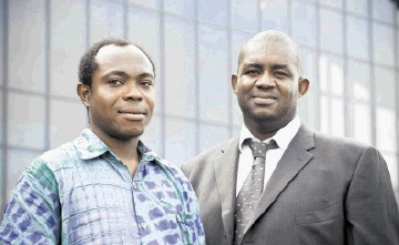 William Anthony, left, who received the SPE Star Fellowship Award, with Anthony Onukwu, SPE Aberdeen