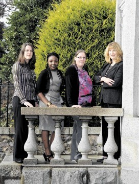 Mary Shepherd, Abigail Mshelbwala and Ciara Mulligan with Optimus resources manager Sarah Innes