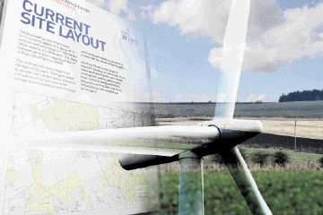 BATTLEGROUND: The site of the proposed windfarm, with, inset, details of the previous planned layout and a typical turbine