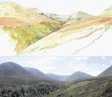 TOP: An artist's impression of the dam, seen as a straight  line above the tree-filled gully and how it is today