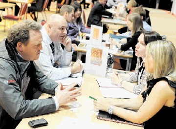2011 FLASHBACK: Bob Jack and Martin Ward, of Kaefer, have a discussion session with Elaine Skene and Kim Murdoch, of Taqa