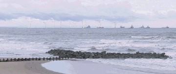 VISION OF THE FUTURE? A photomontage by the developers  showing how the windfarm may look from   Aberdeen beach. The distance from the beach to the nearest turbine is just over 7km
